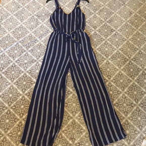 3ec8944f6b1 Summery Navy blue Jumpsuit with White pinstripes